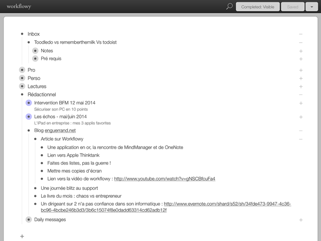 Workflowy sur iPad