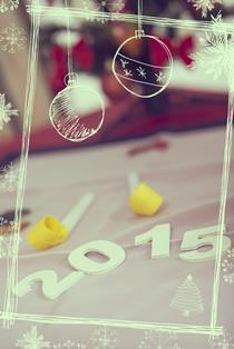 Decorations for New Years party on the table