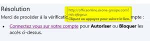 phishing : lien frauduleux